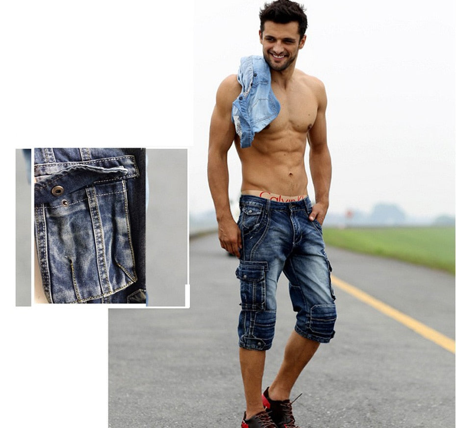 Men's Washed Denim Cargo Shorts