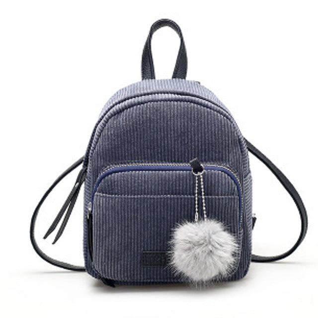 Fashion Corduroy Water Resistant School Backpack with Fuzzy Fur Ball Keychain