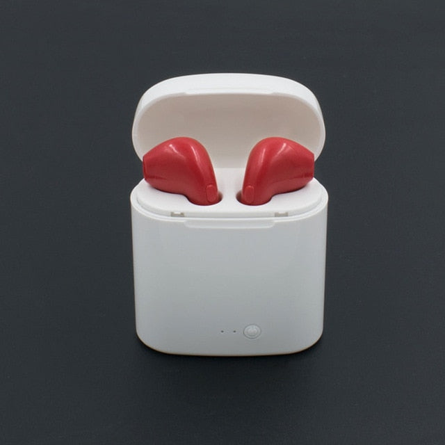 Red Wireless Bluetooth Earbuds with Charge Box