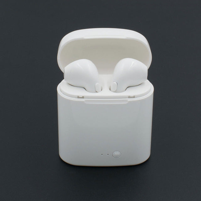 White Wireless Bluetooth Earbuds with Charge Box