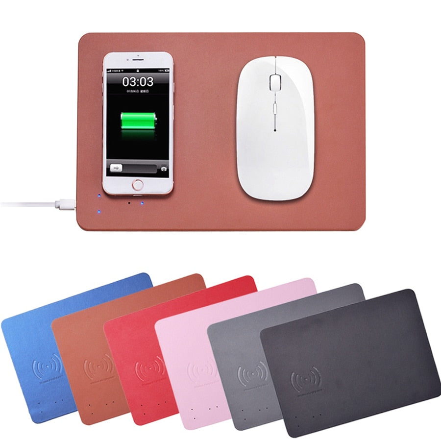 PU Leather Fast Wireless Charger - Mouse Pad