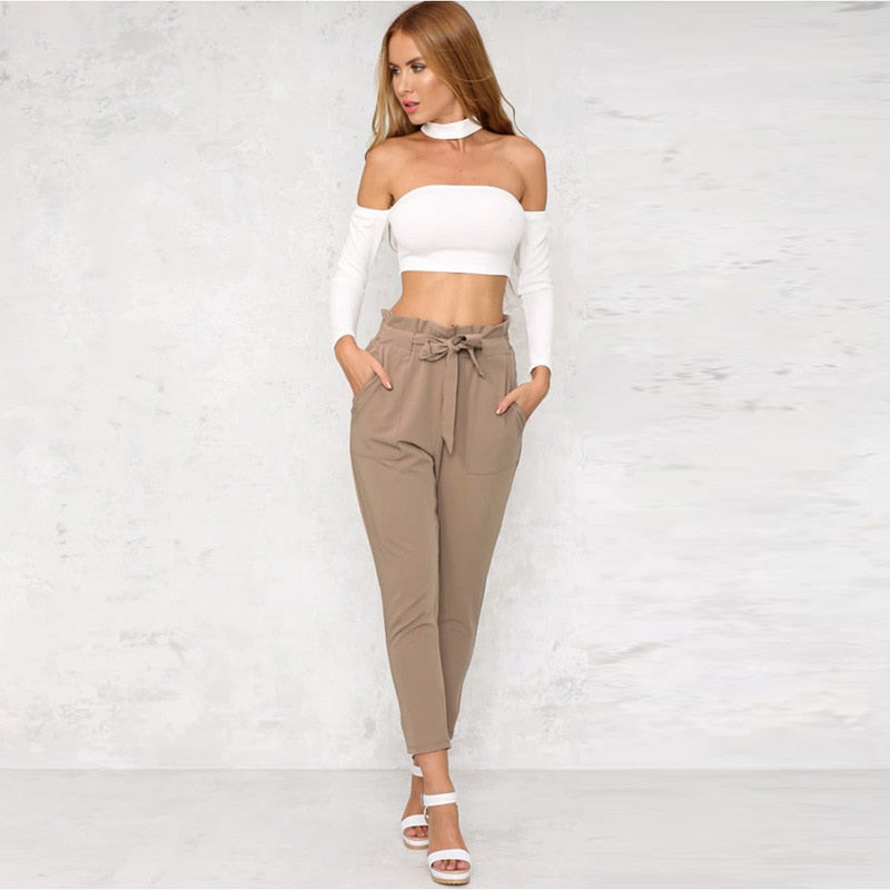 Women's Elastic Waist High Harem Business Pants