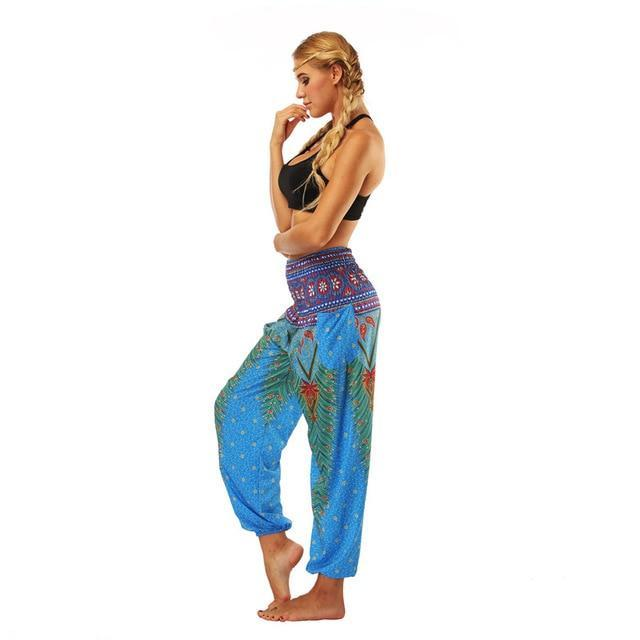 Women's High Waist Flower Printed Loose Yoga Pants