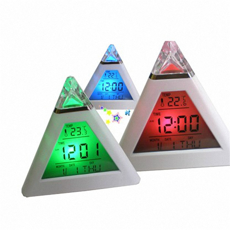 Pyramid Temperature 7 Colors LED Change Backlight LED Moon Alarm Clock