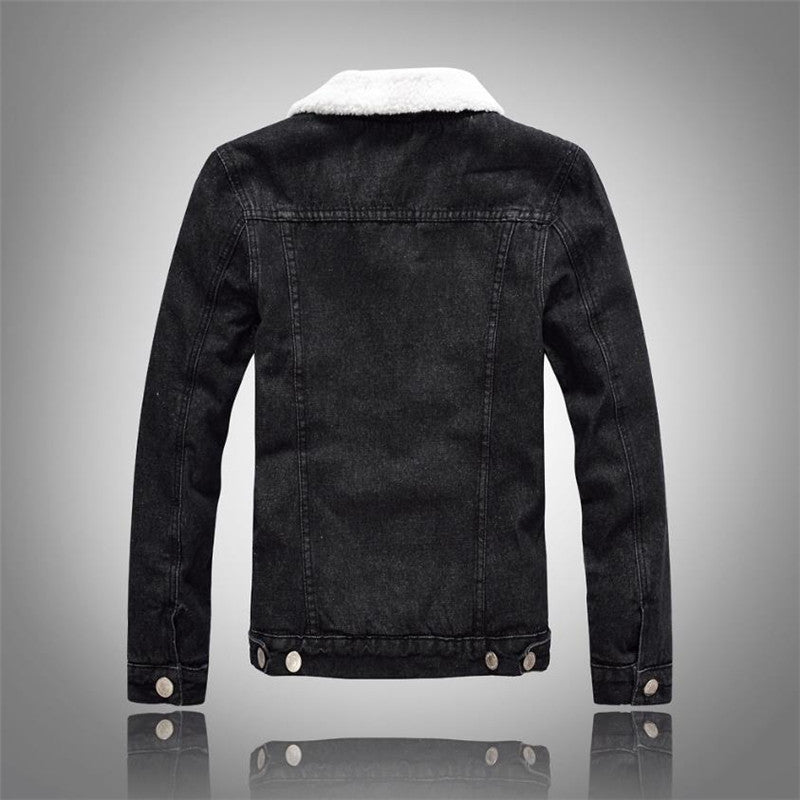 Men's Denim Plush Lined Layered Winter Jacket