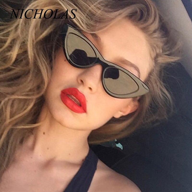 NICHOLAS Retro Cat Eye Sunglasses Women Small Frame Triangle Sun glasses Women Eyewear Oculos De Sol Feminino Lunette Soleil