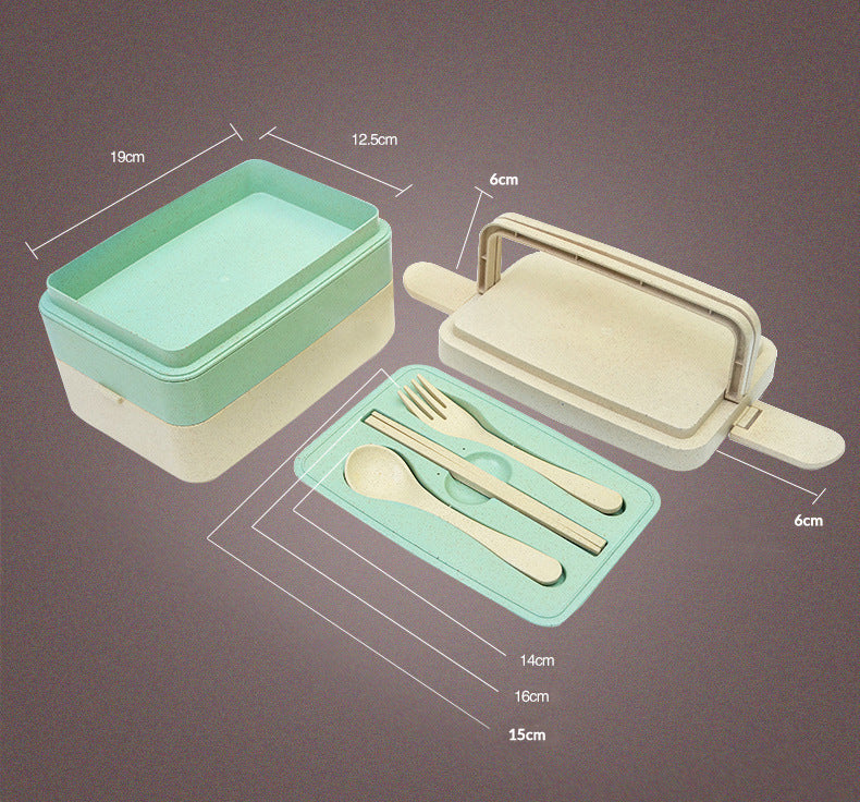 Three Layer Wheat Straw Eco-Friendly Leakproof Microwaveable Lunchbox