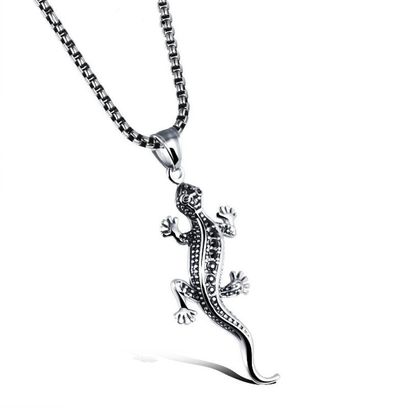 DoreenBeads Stainless Steel Necklace Pendant Men Jewelry Punk Vintage Men's Animal Gecko Lizard Necklaces Pendants Chain Gift