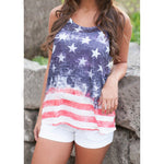 Women's Summer Vintage American Flag Stripe Stars Tank Top