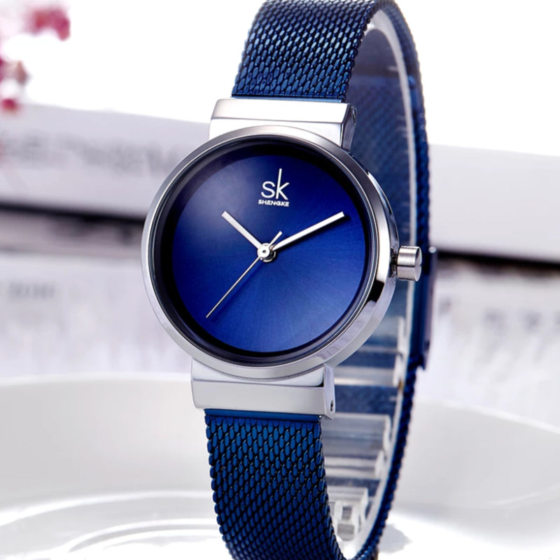 Women's Blue Luxury Steel Band Montre Wrist Watch