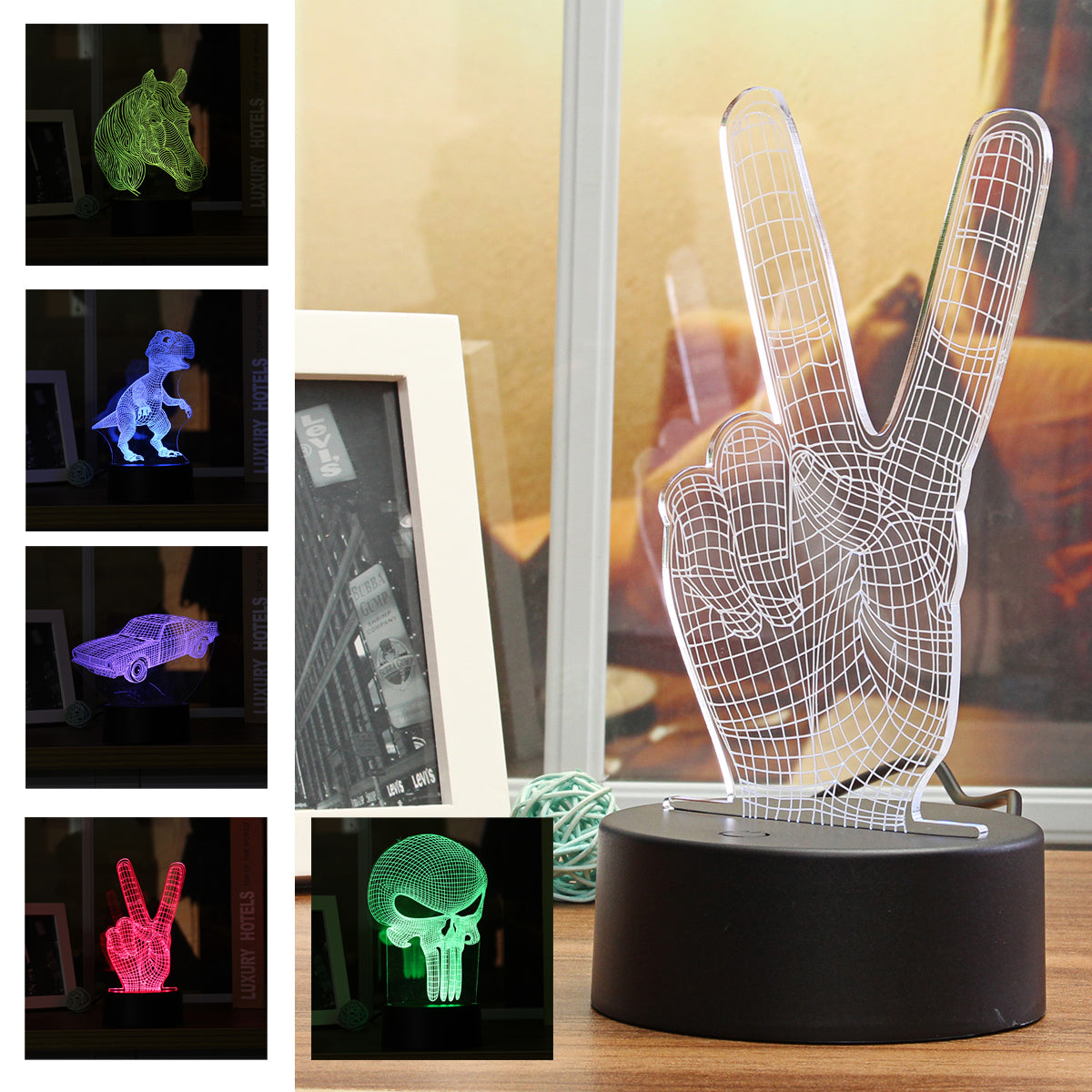 Image of 3D Creatives Night Light LED Touchs Switch Table Lamp Eye Protection Acrylic Panel Color Change Lamp For Child Bedroom Read Gif - $12.99 Free Shipping