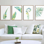 Tropical Plant Leaves Minimalist Art Canvas Posters - 13cm x 18cm