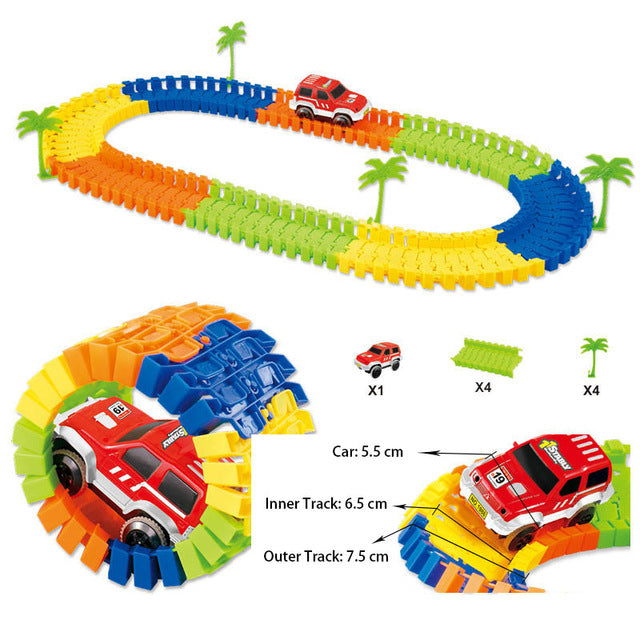 Mini Road Luminous Flexible Railroad Railway Magical 28 96 144 192PCS Boy Car Toy for Children Gift Glowing Race Track Set