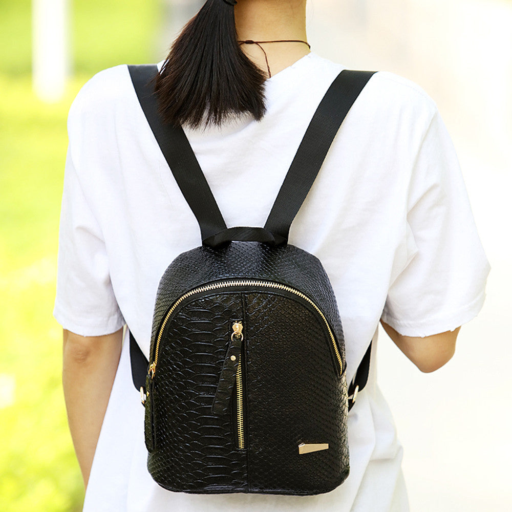 Classic Black Leather Snake Skin School Backpack