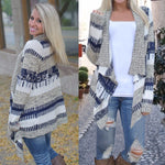 Fashion Full Sleeve Hand Knitted Striped Cardigan Women Sweater V-neck Open Stitch Crochet Knit Sweater Irregular Loose Cardigan