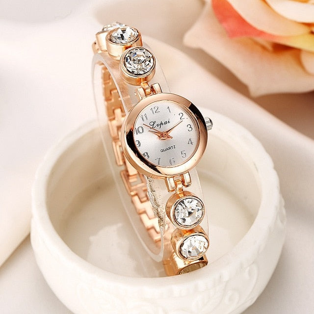 Women's Luxurious Stainless Steel Crystal Embedded Chainlink Wristwatch