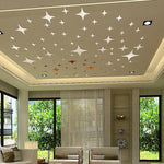 DIY 3D Mirrored Ceiling Stars Set - 50 Pieces