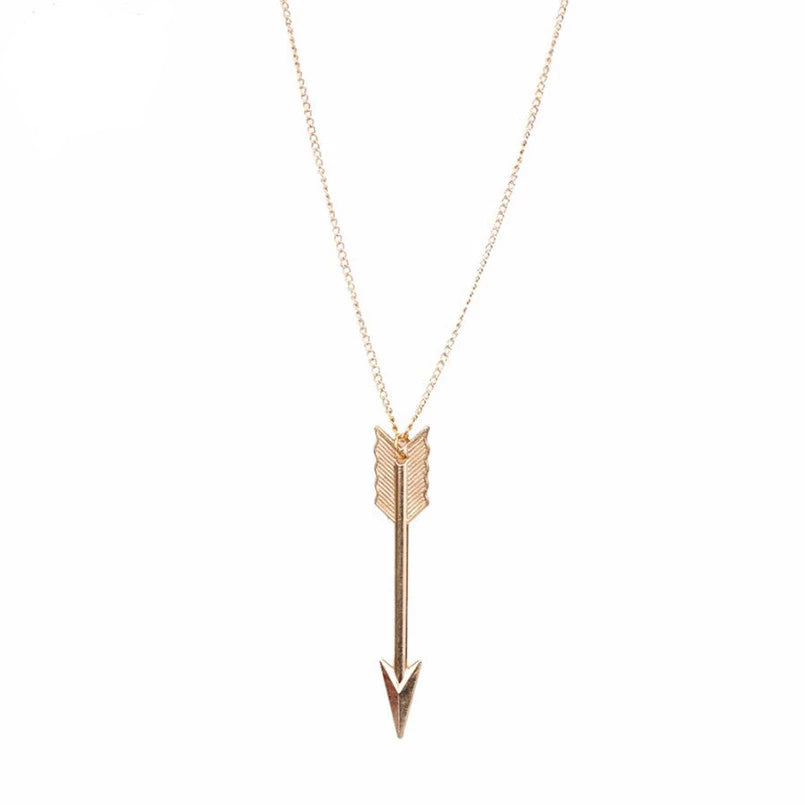SUSENSTONE Women Fashion Jewelry Bronze Retro Arrow Head Pendant Long Chain Necklace
