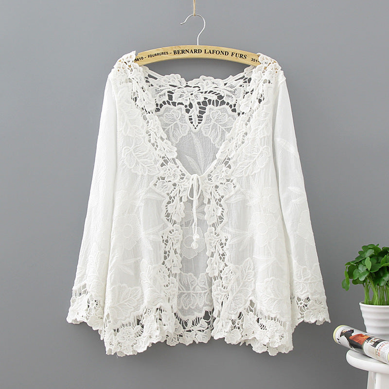 Crochet Lace Kimono Summer 2018 Fashion Holiday Lace Up Tops Women Long Sleeve Hollow Out White Blouse Beach Kimono Cardigan