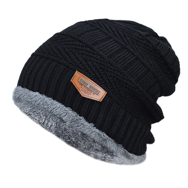 Thick Fur Lined Winter Knit Beanie