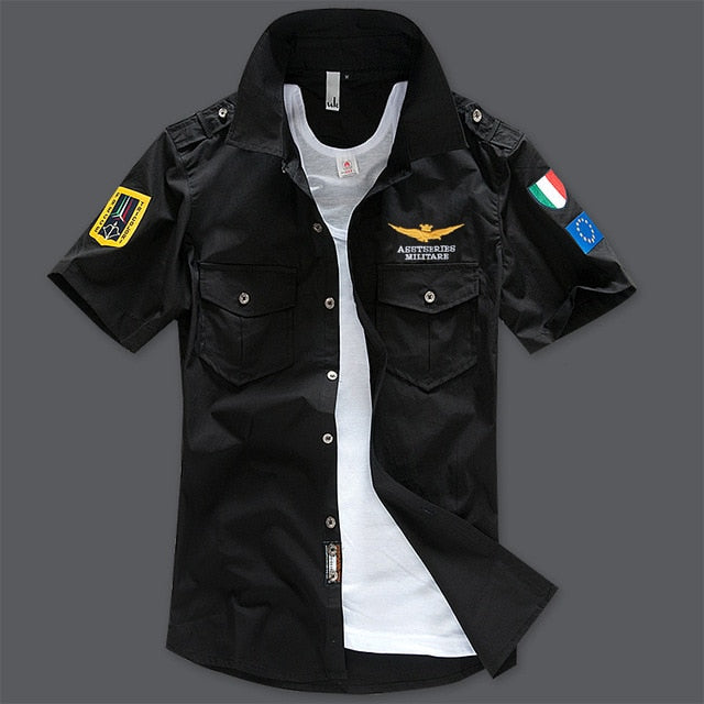 Men's Military Style Short Sleeve Embroidered High-Quality Cotton Shirt