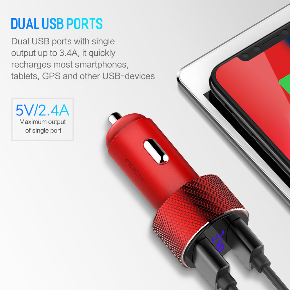 Dual 5V USB Car Charger with Digital Display