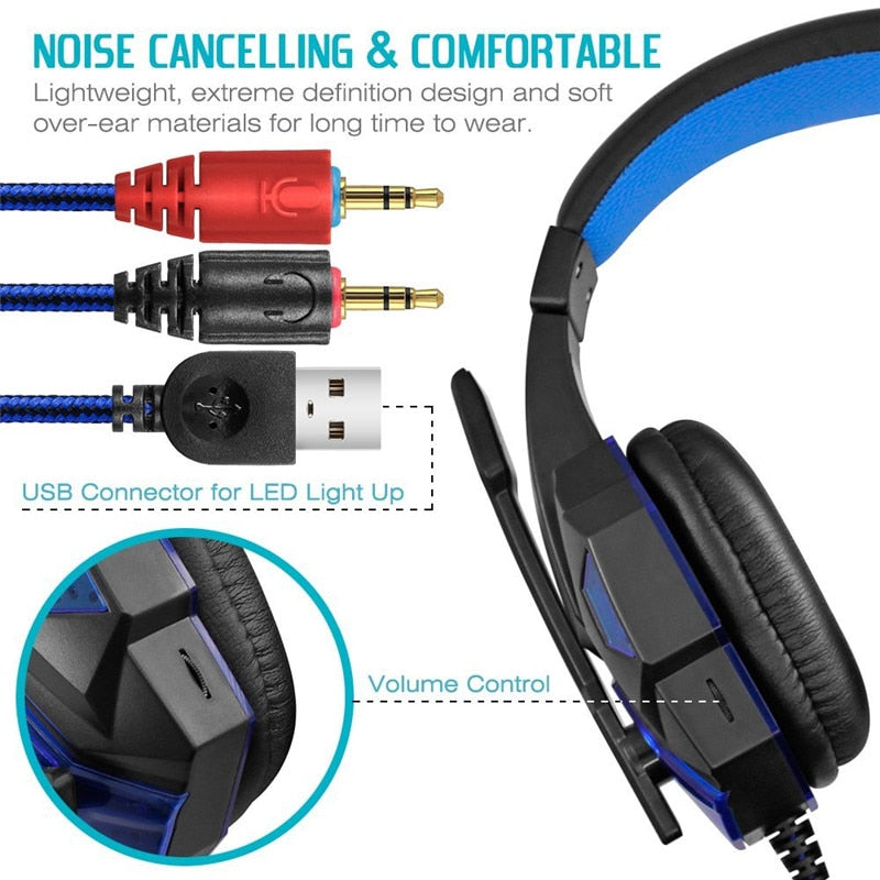 Stereo Surround Sound Noise Cancelling LED Gaming Headphones with Mic