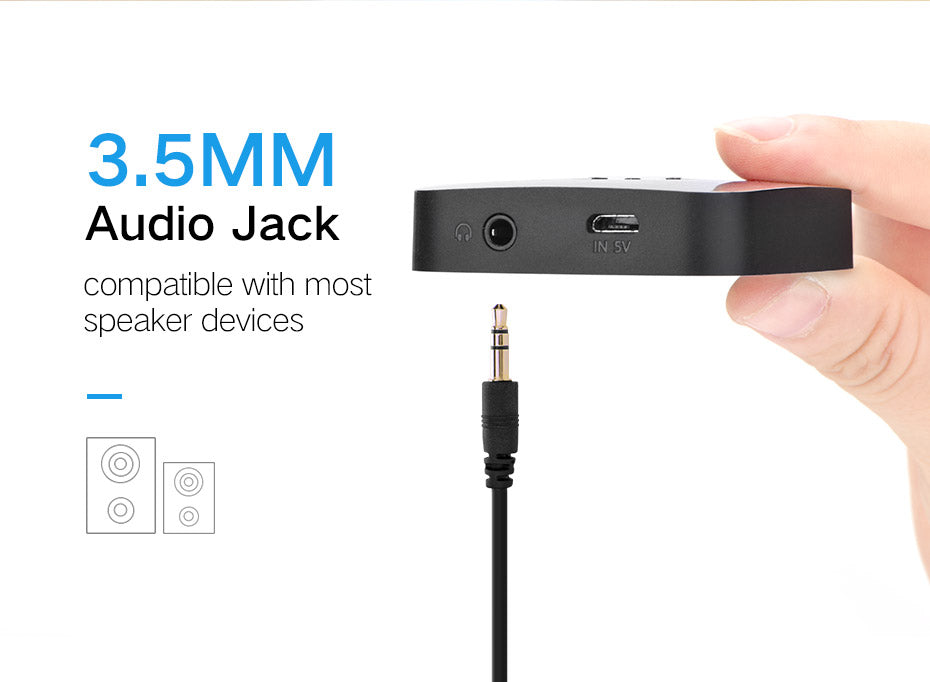 Wireless Bluetooth 3.5mm Stereo AUX Audio Receiver & Speaker Adapter