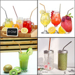 12 Piece: Elegant Polish Colorful Stainless Steel Drinking Straws with Cleaning Brush