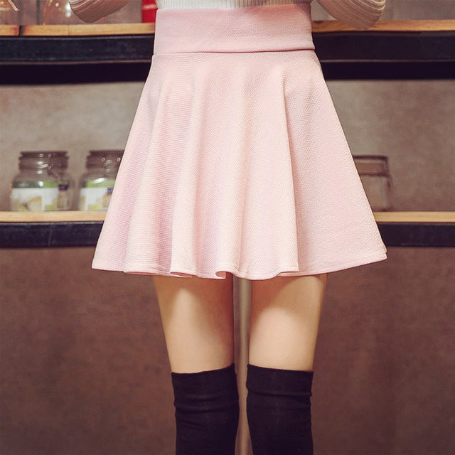 Women's High Waist Pleated Skirt Super Elastic Mini Skirts