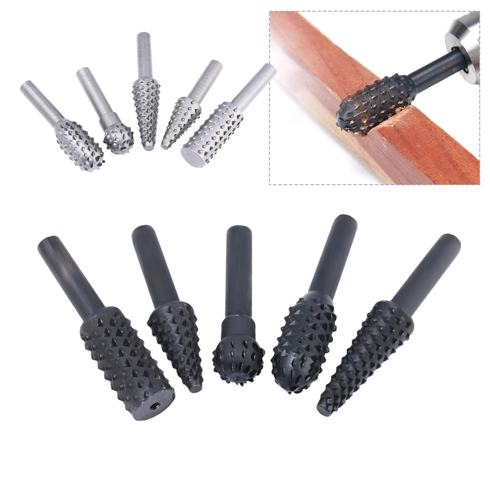 "5 Piece: Steel 1/4"" Rotary Crafting Woodwork Files"
