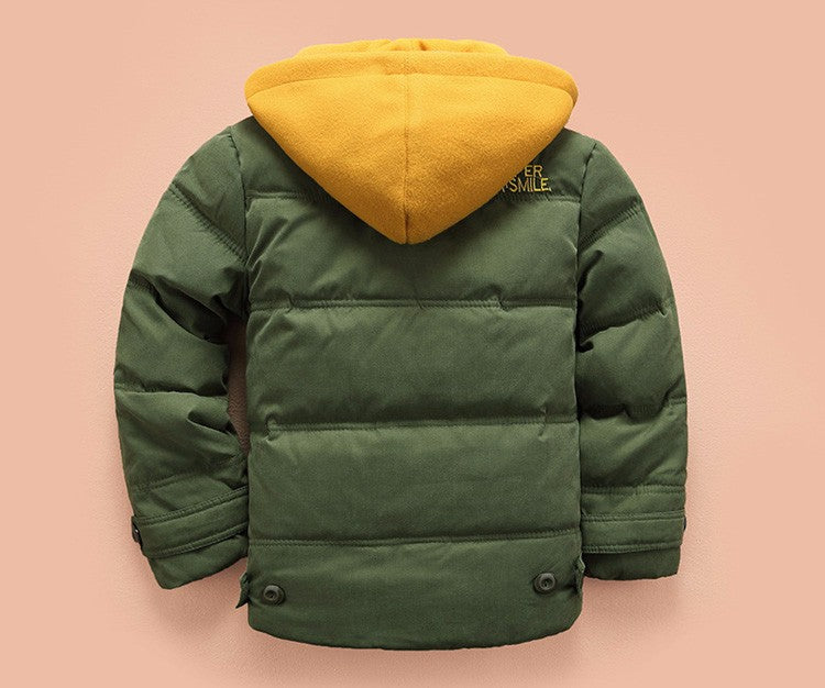 Back of green jacket