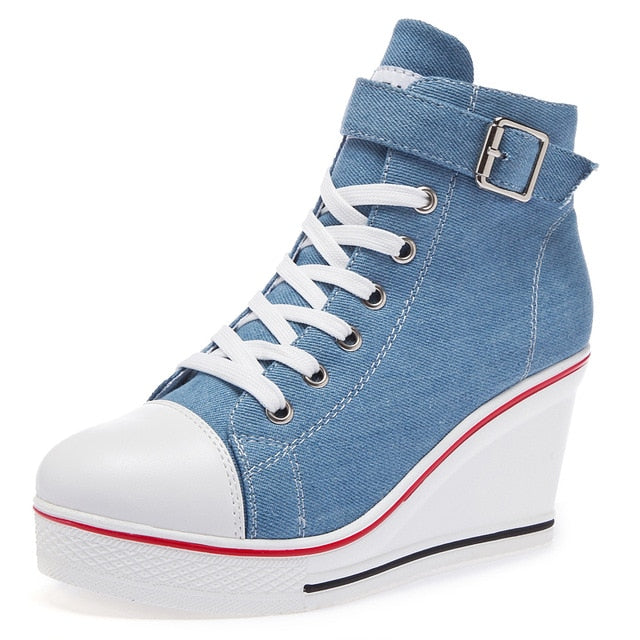Women's Denim Ankle Lace-Up Canvas Sneaker High Heel Wedges