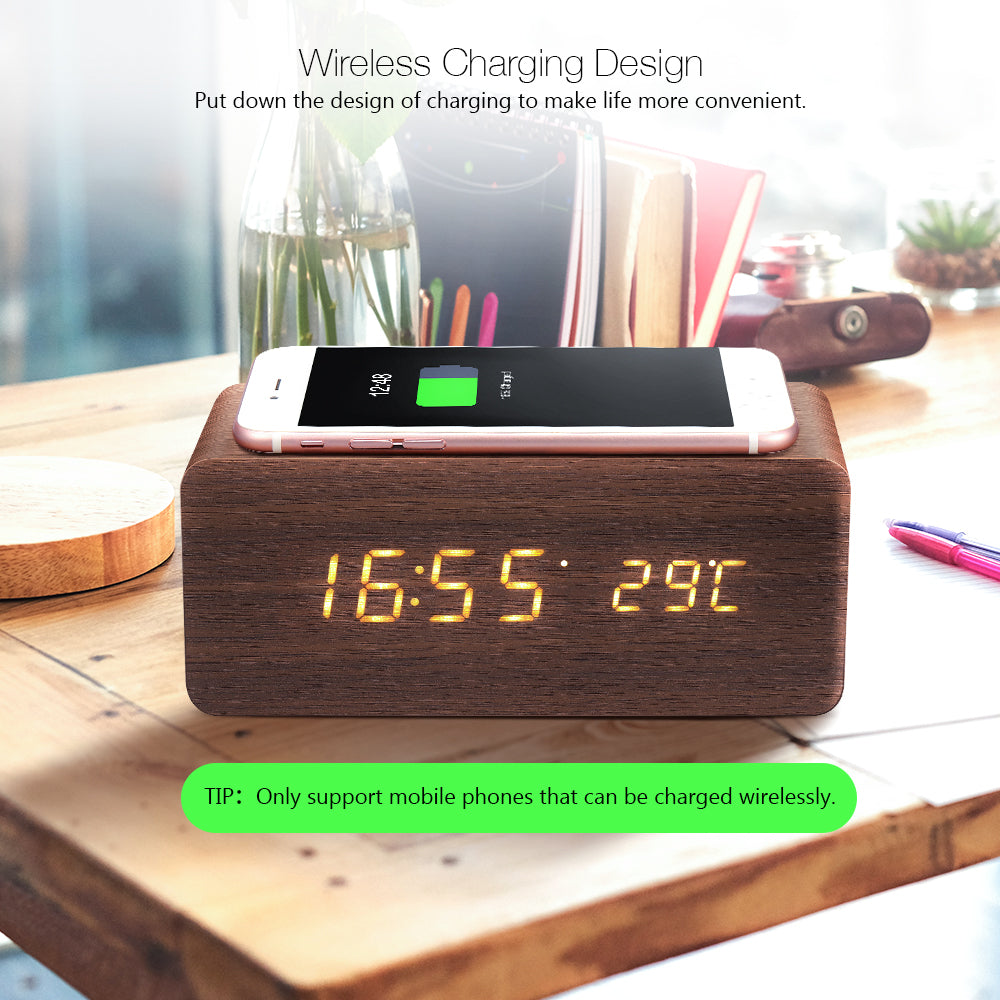 Digital Wooden Wireless Charging Voice Control LED Display Alarm Clock