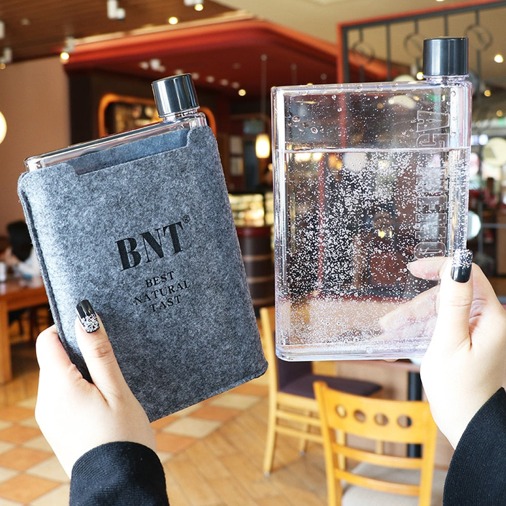 Notebook Styled Travel Water Bottle Flask with Slip Cover