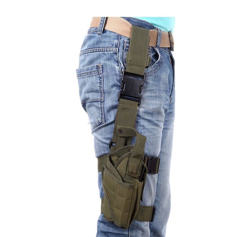 Army Green Universal Adjustable Tactical Gun Leg Holster on Person