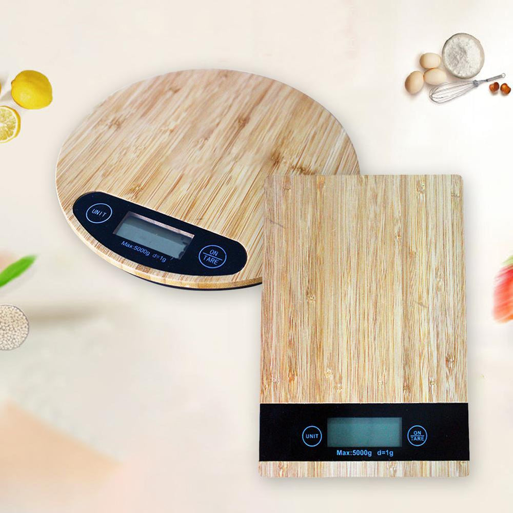 Bamboo Wood Grain Precision Electronic Scale