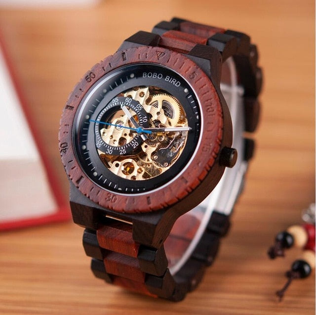 Men's Wooden Mechanical See Through Wristwatch