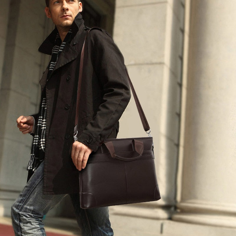 Men's Vintage Leather Business Travel Briefcase