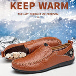 Men's Slip-On Fur Lined Leather Loafers