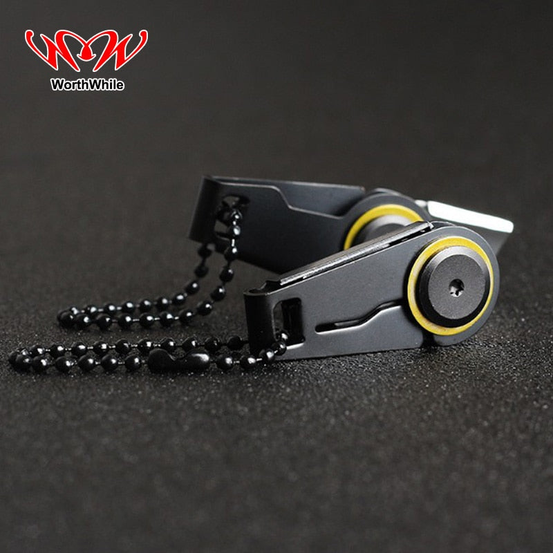 WorthWhile Creative Mini Zipper Knife Portable Outdoor Survival Emergency Tool Foldable Stainless Steel EDC Key Ring