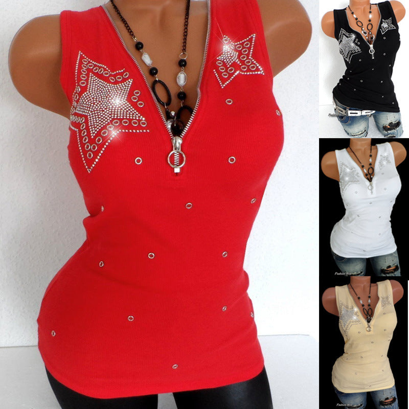 Women's Beaded Cotton Zipper V Neck Sleeveless Top