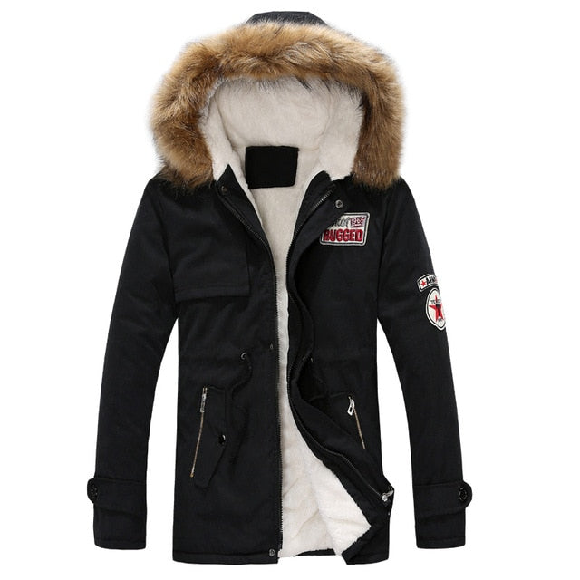 Men's Fur Hooded Thick Winter Jacket