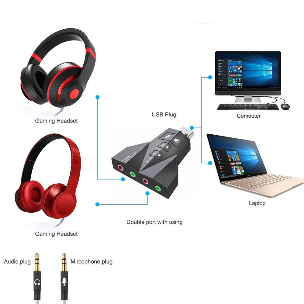 Dual Microphone/Headset USB Stereo Sound Adapter