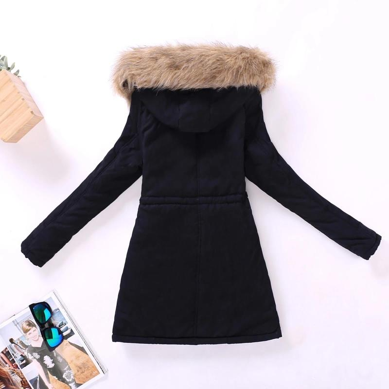 FTLZZ New Autumn Winter Women Jacket Cotton Padded Casual Slim Coat Emboridery Hooded Parkas Plus Size 3xl Wadded Overcoat