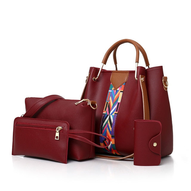 4 Piece: Women's Leather Composite Handbag & Purse Set