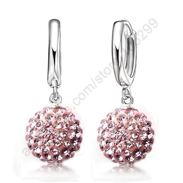 Women's Pure 925 Sterling Silver Pave Crystal Ball Earrings