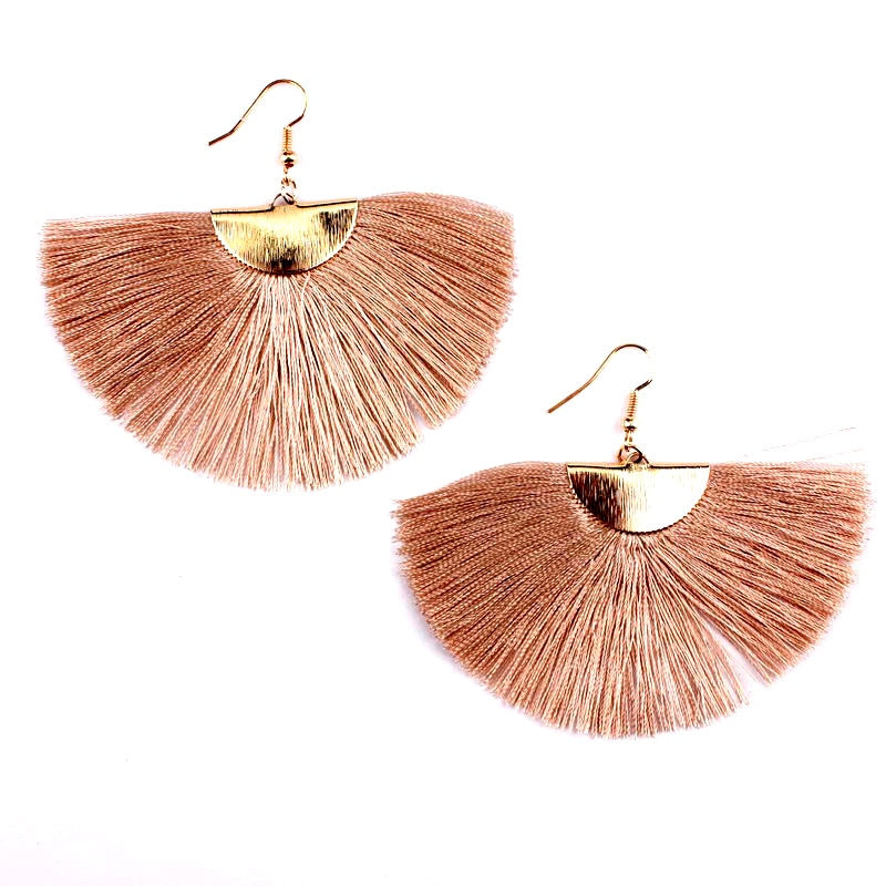 Women's Boho Style Fan Fringe Silk Thread Tassel Earrings