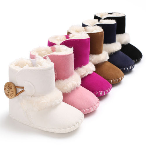 Girl's Non-Slip Soft Sole Mocassin Snow Boots