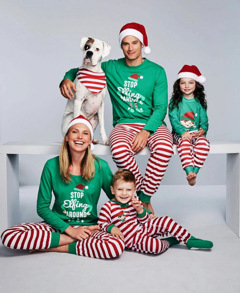 Family Christmas Matching Sleepwear Stripe Pajama Sets